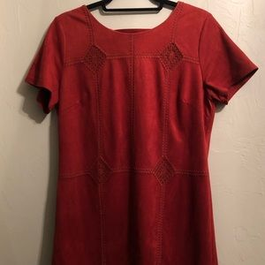 Impeccable Pig Suede Shortsleeved Red Dress